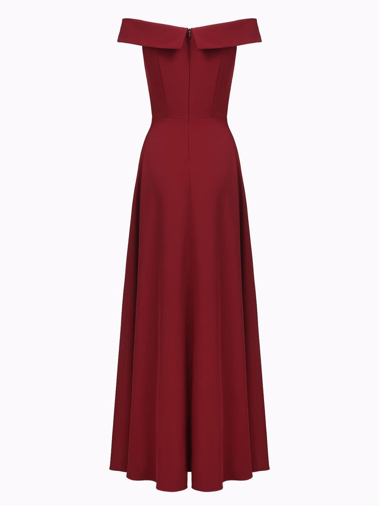 Wine Red 1950s Off Shoulder Maxi Dress