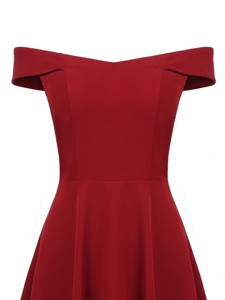 Wine Red 1950s Solid Off Shoulder Dress