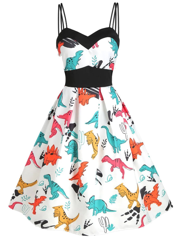 White 1950s Dinosaurs Strap Dress