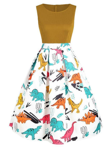 1950s Dinosaur Patchwork Swing Dress