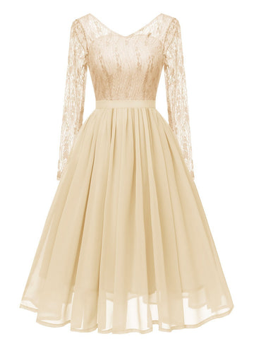 1950s Long Sleeve Chiffon Lace Dress