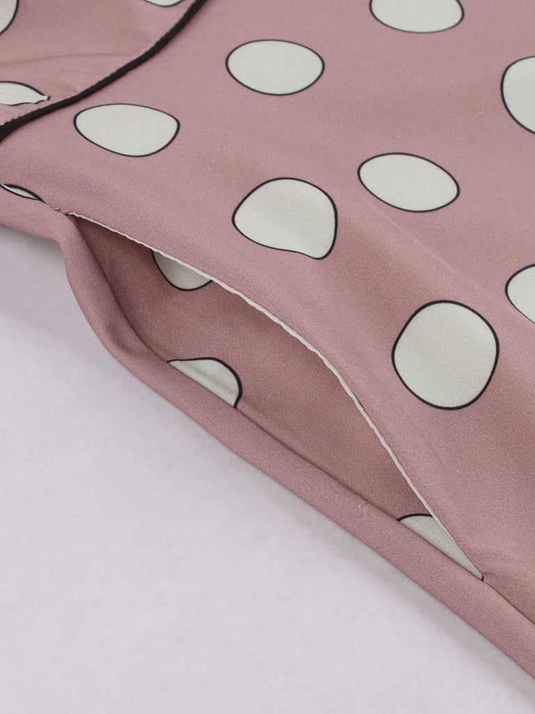 Pink 1940s Polk Dot Wrap Dress