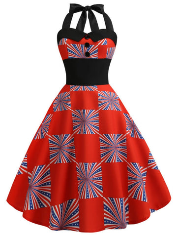 1950s American Flag Halter Dress