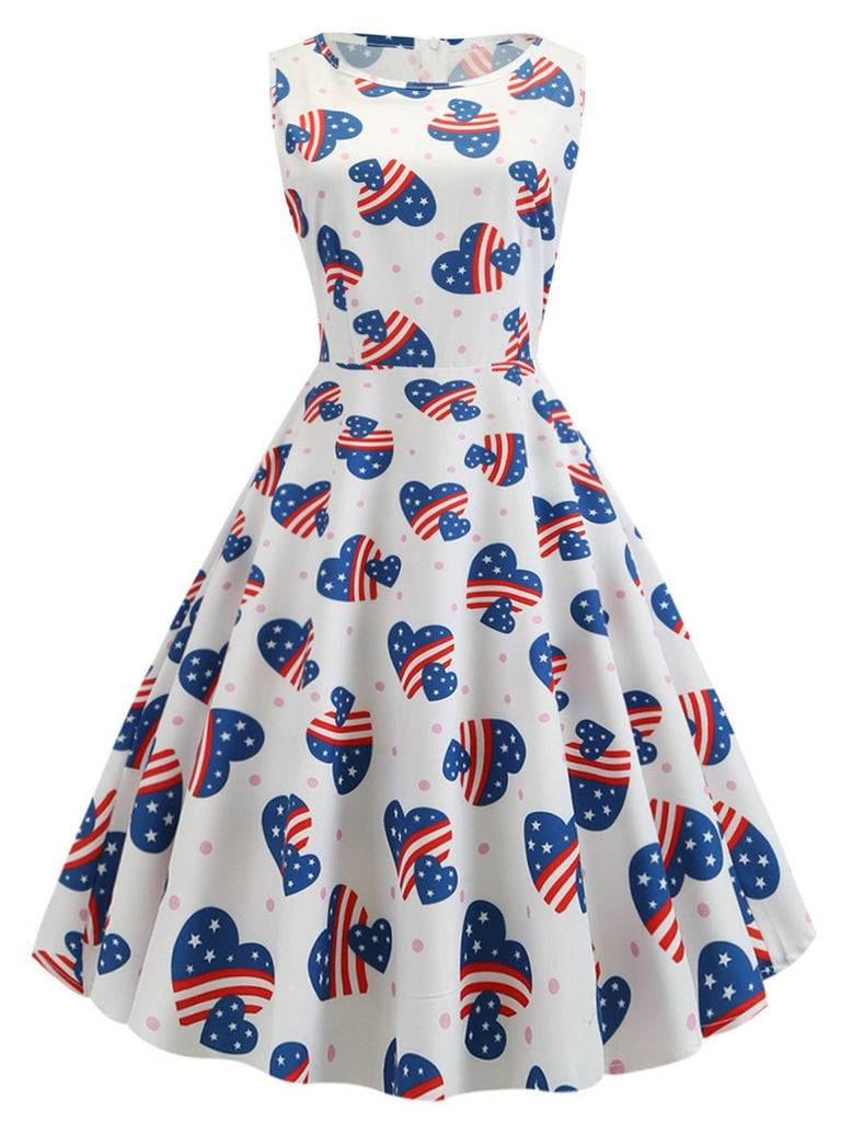 White 1950s American Flag Heart Dress