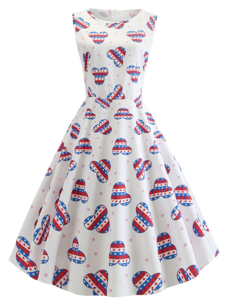White 1950s American Flag Stars Dress