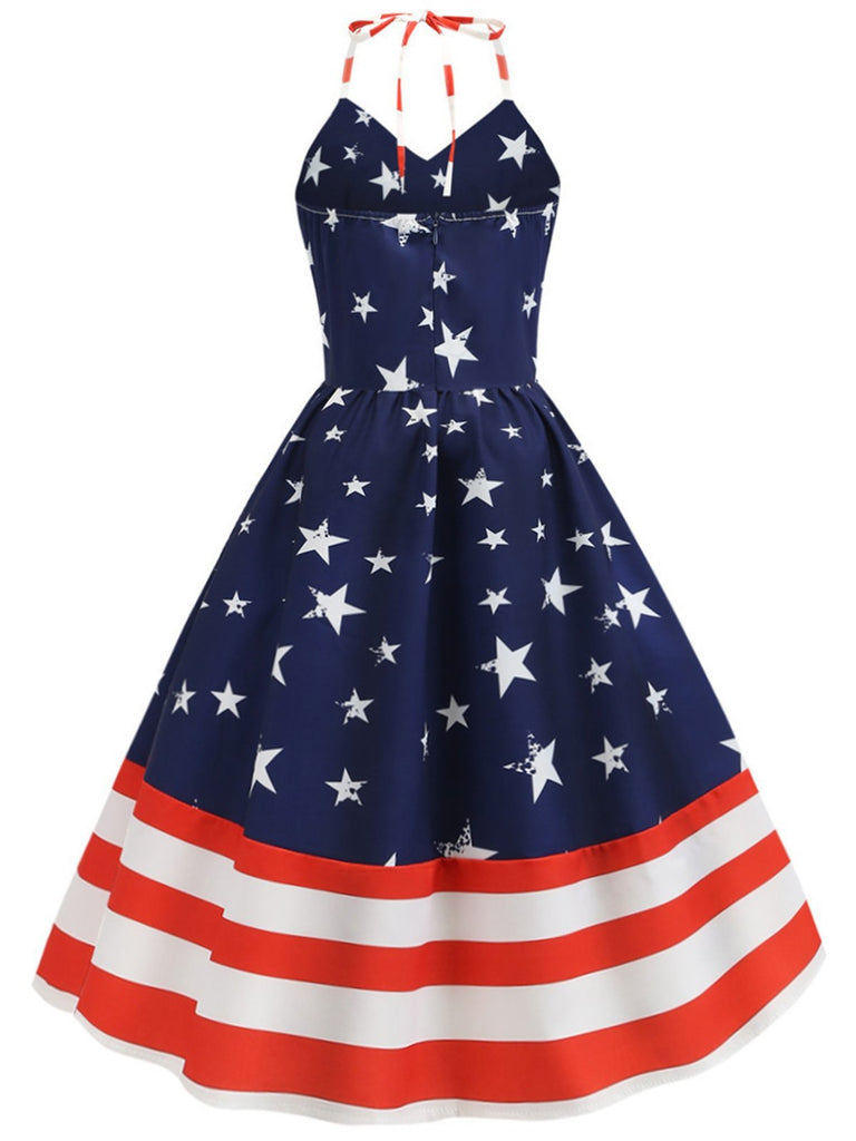 1950s American Flag Stars Stripe Halter Dress