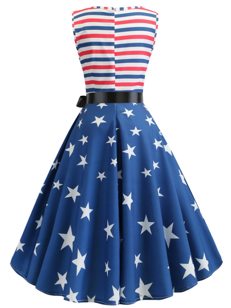 1950s American Stars Stripe Belted Dress