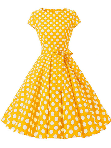 1950s Polka Dot Belted Swing Dress