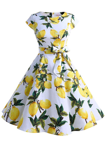1950s Lemon Belted Swing Dress