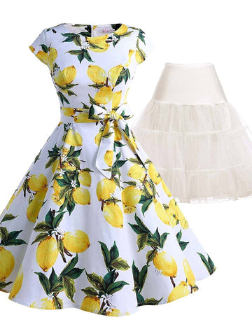 2PCS Top Seller 1950s Lemon Belted Swing Dress & White Petticoat