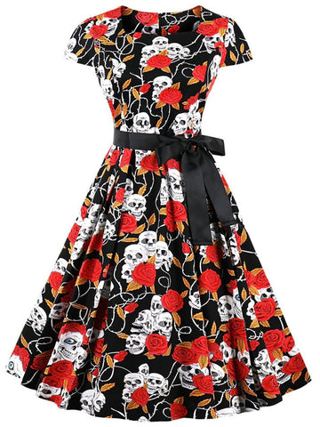 1950s Skull Rose Belted Swing Dress