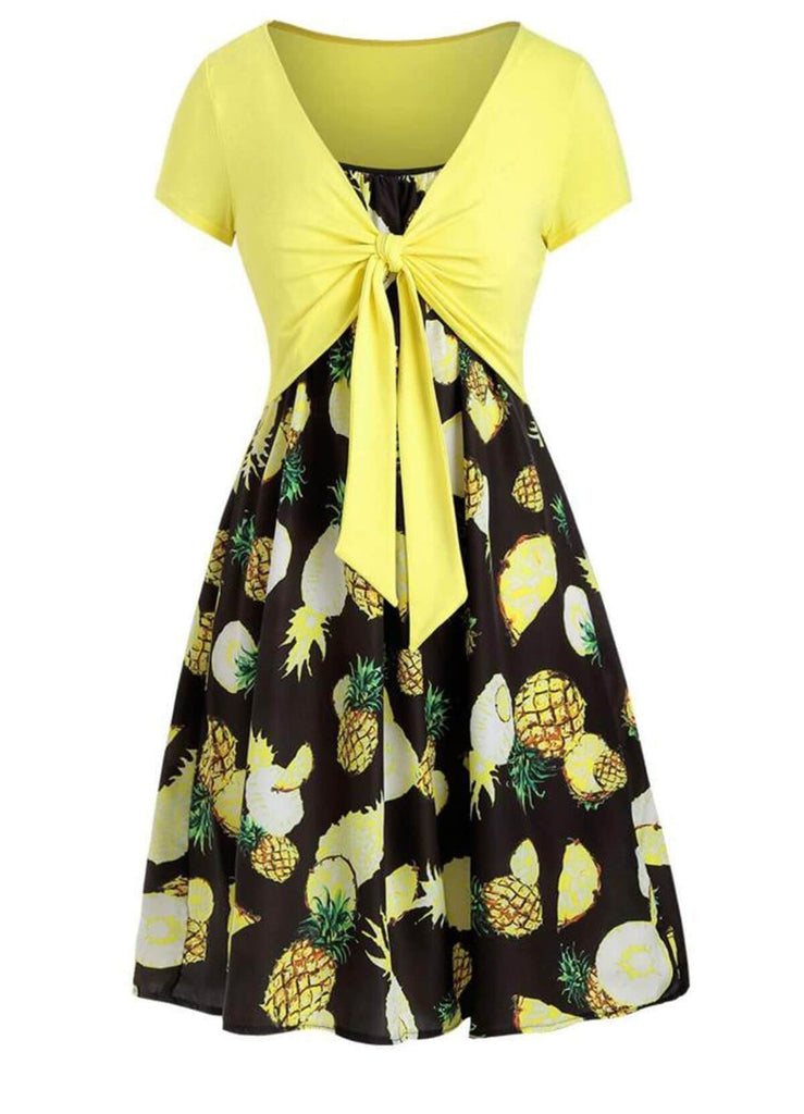 2PCS Front Knot Cardigan Pineapple Strap Dress