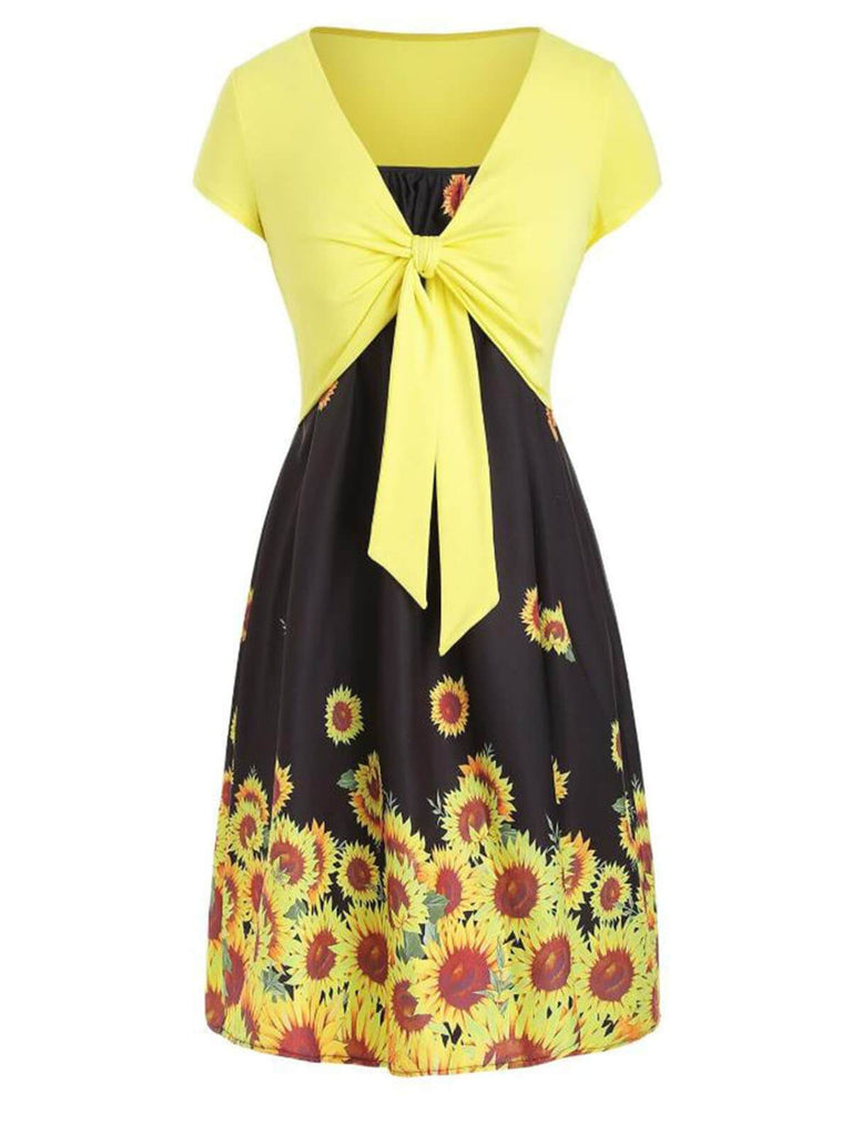 2PCS Front Knot Cardigan Sunflower Strap Dress