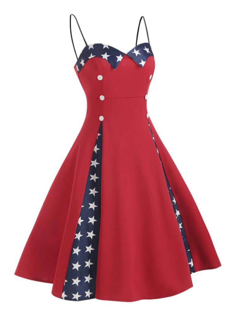 Red 1950s Star Patchwork Strap Dress