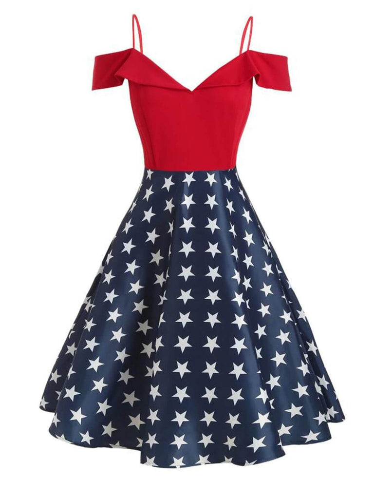 Red Star Cold Shoulder Swing Dress