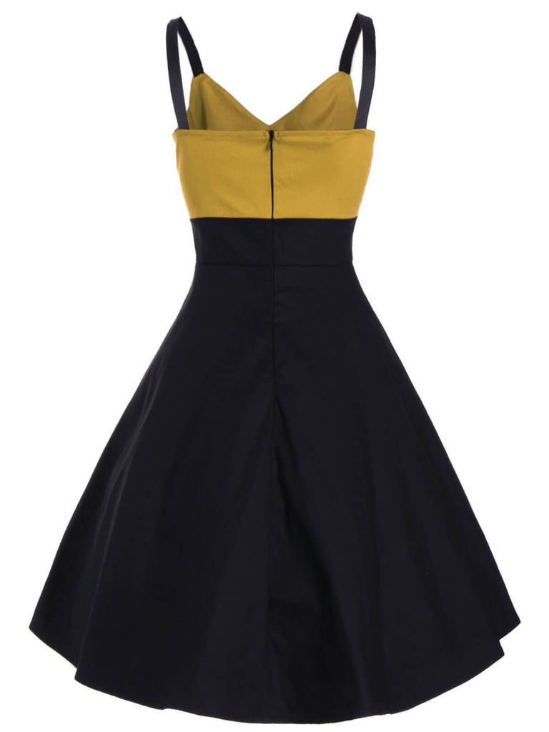 1950s Patchwork Button Swing Dress