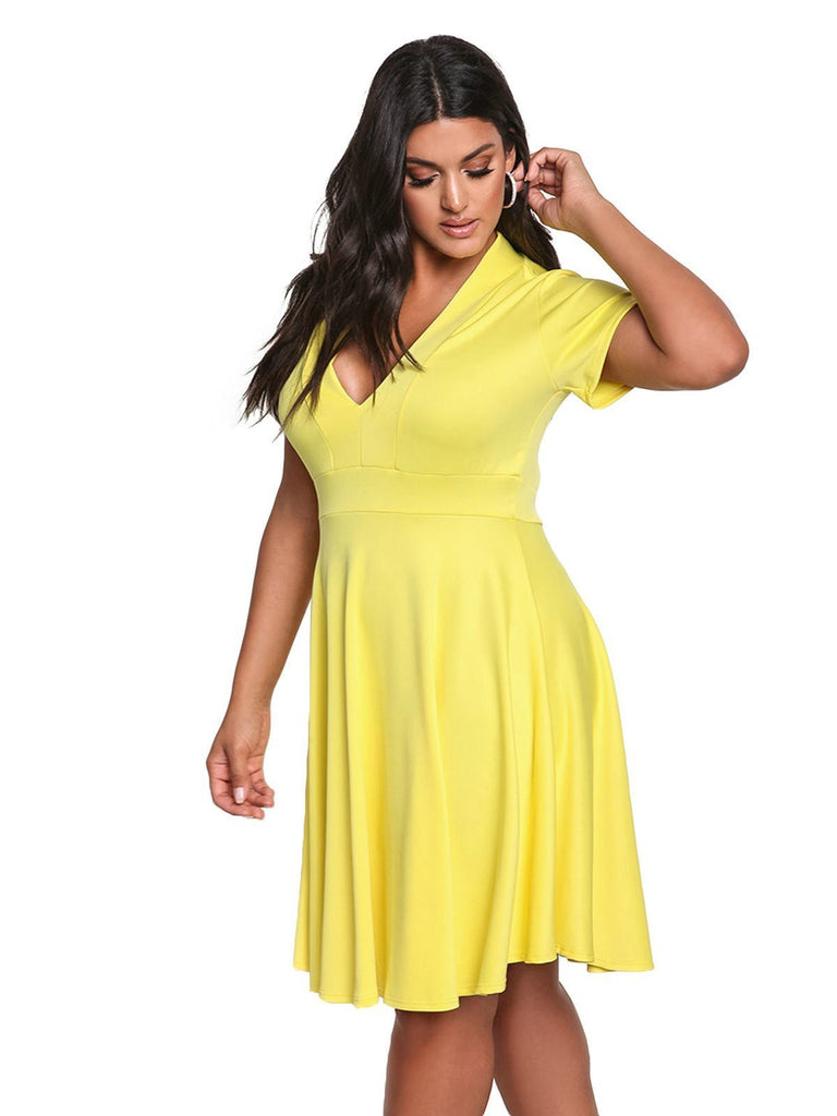 Plus Size 1950s Solid V Neck Dress