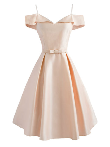 1950s Cold Shoulder Satin Bow Dress