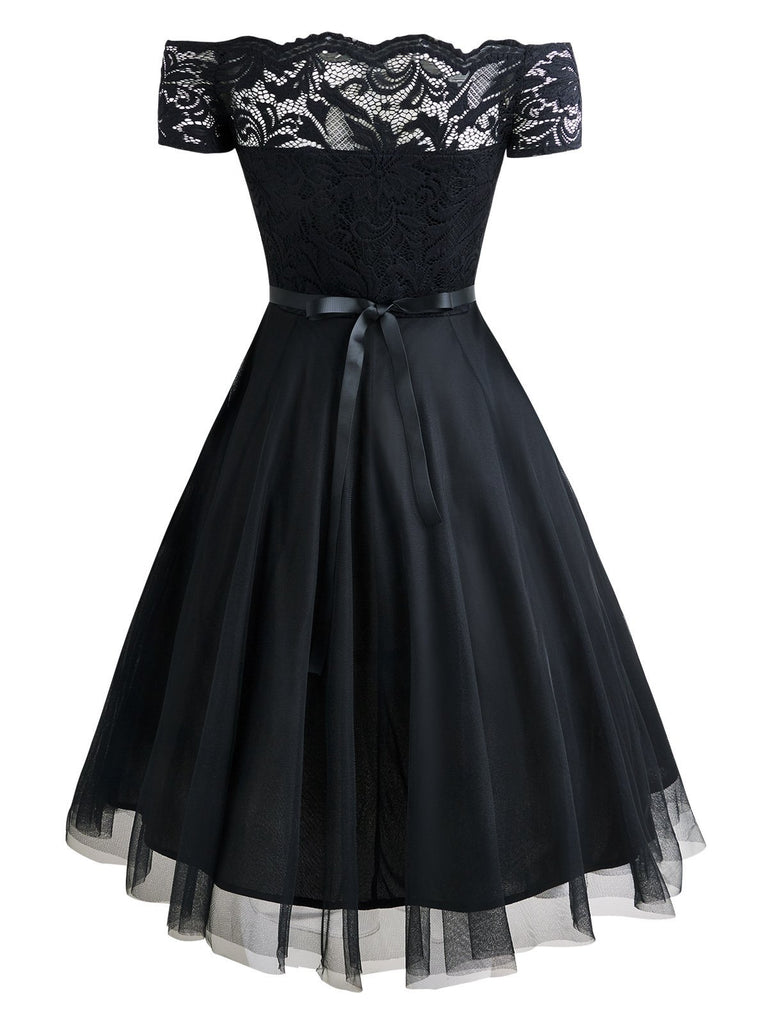 Black 1950s Belted Off Shoulder Lace Dress