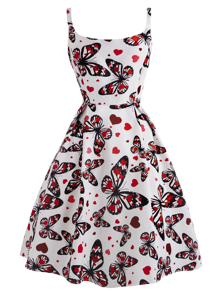White 1950s Butterfly Square Neck Dress