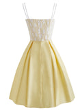 Yellow 1950s Stain Lace Strap Dress