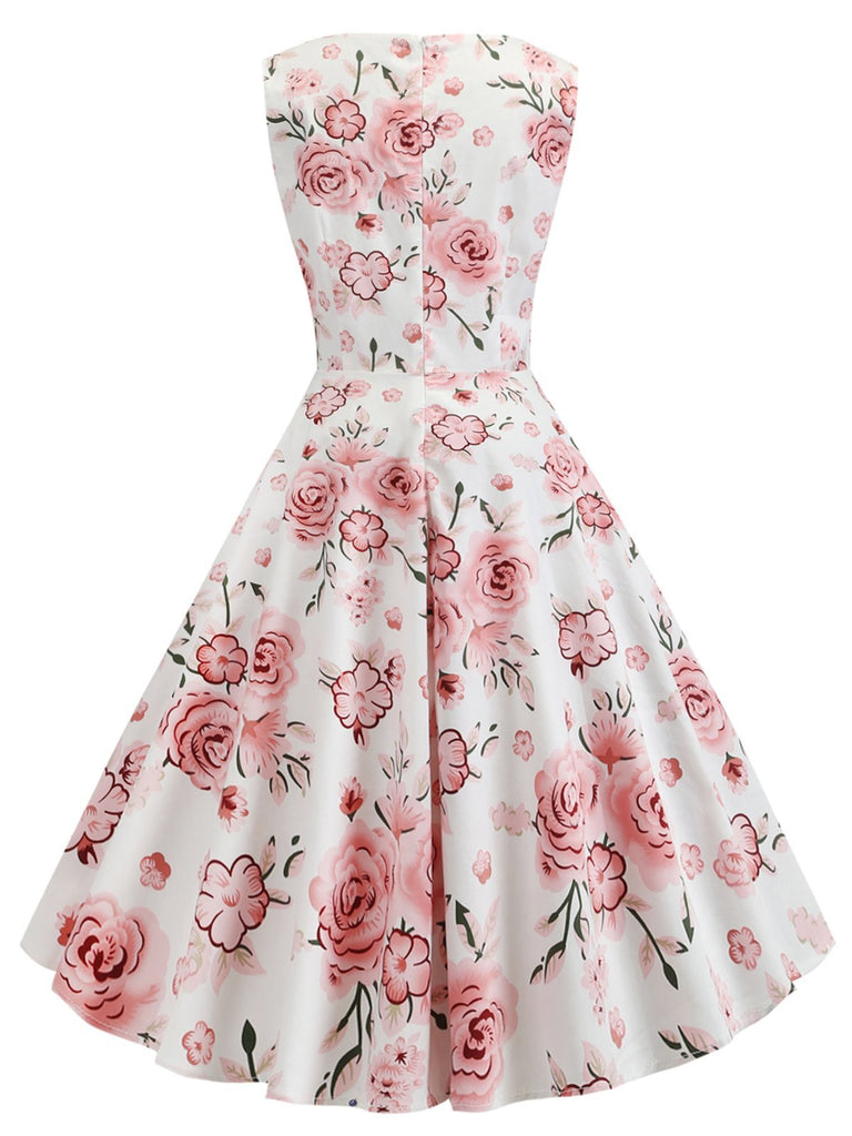 1950s Floral Sleeveless Swing Dress