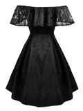 1950s Lace Off Shoulder Ruffle Dress