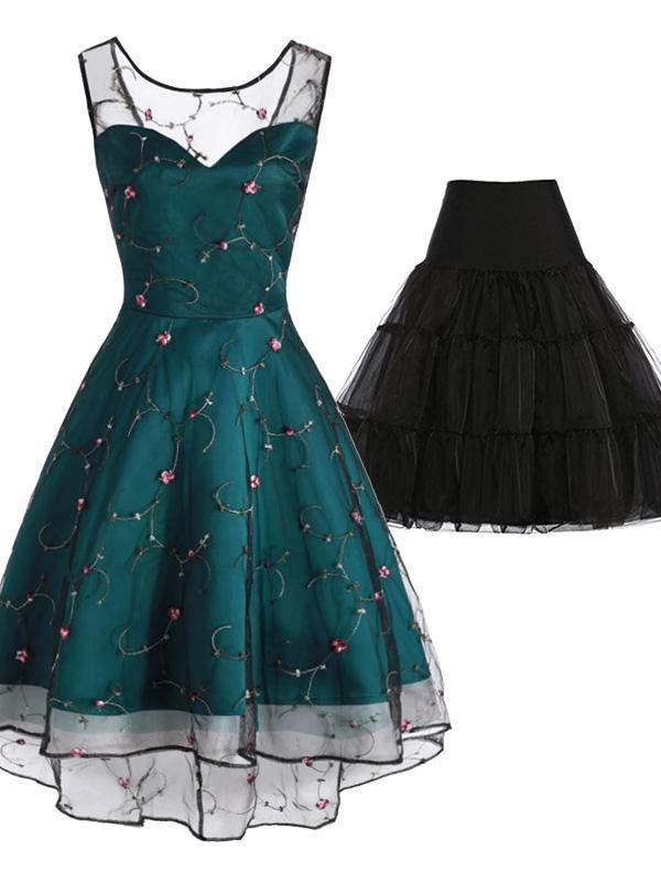 2PCS Top Seller 1950s Mesh Swing Dress & Black Petticoat