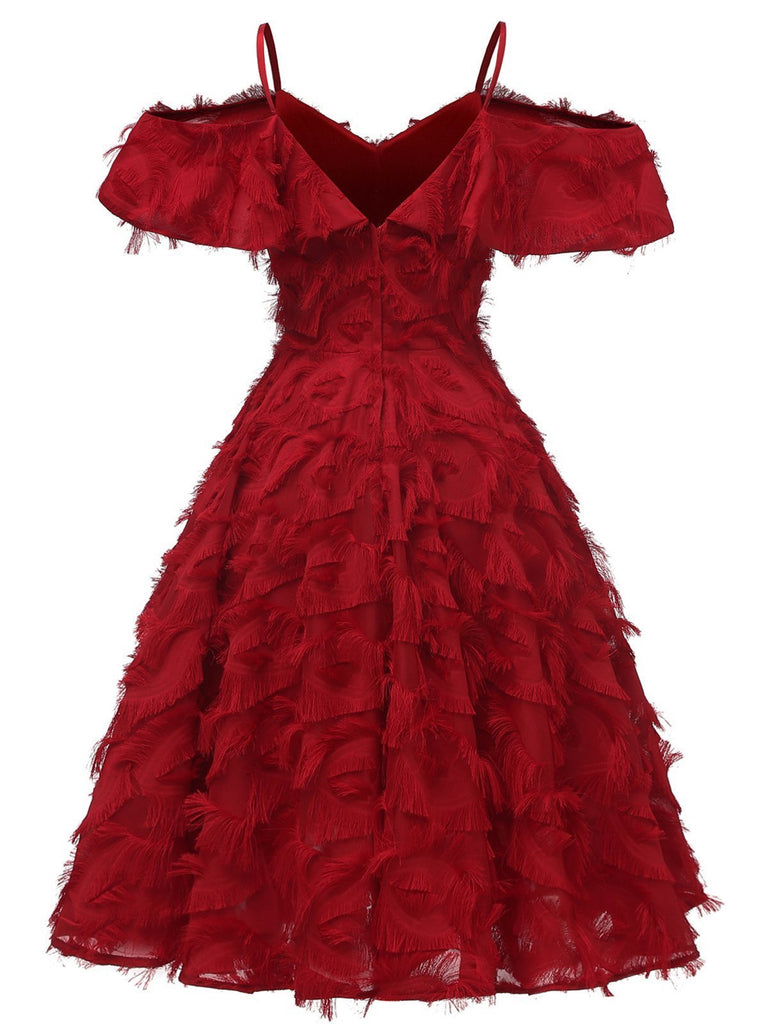 1950s Cold Shoulder Ruffle Tassel Dress