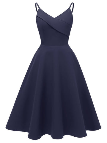 1950s Solid Strap Swing Dress