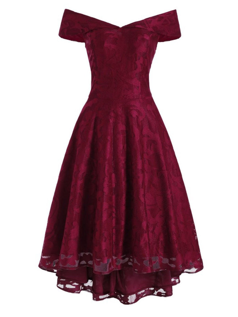 Wine Red 1950s Off Shoulder High-Low Dress