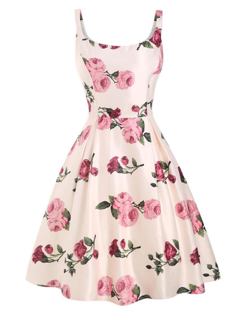 Pink 1950s Rose Floral Swing Dress