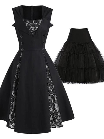 2PCS Top Seller 1950s Patchwork Swing Dress & Black Petticoat