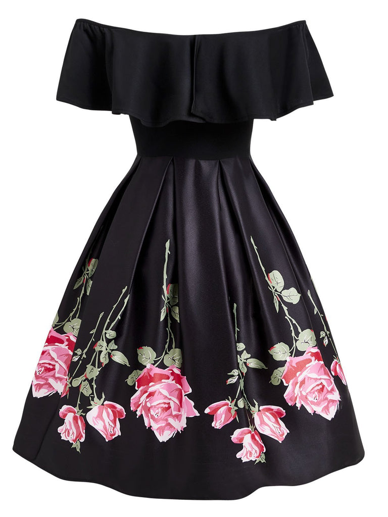 Black 1950s Ruffle Off Shoulder Dress