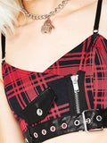 Halloween Steampunk Plaid Crop Tops