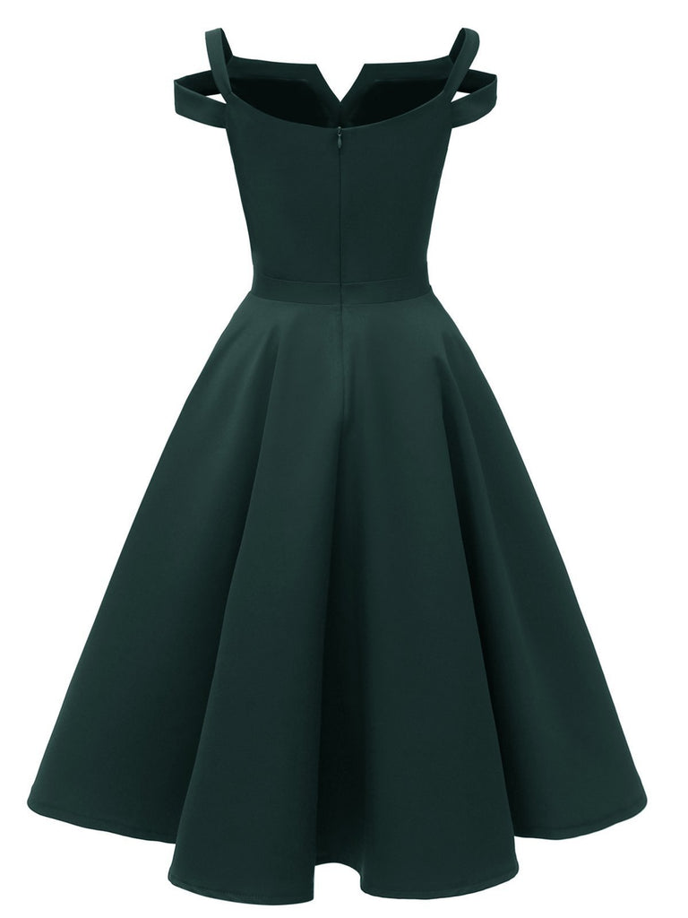 1950s Solid Cold Shoulder Swing Dress