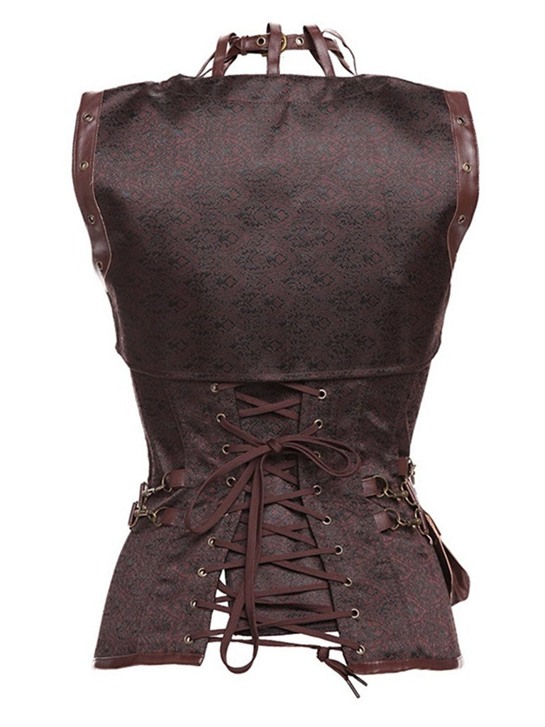 Brown Halloween Steampunk Leather Corset