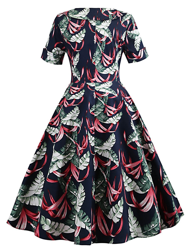 Navy Blue 1950s Tropical Plants Swing Dress