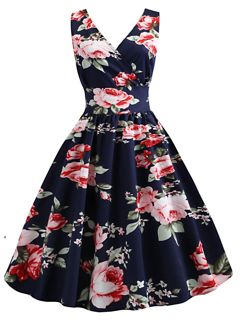 1950s Inspired Floral Swing Dress