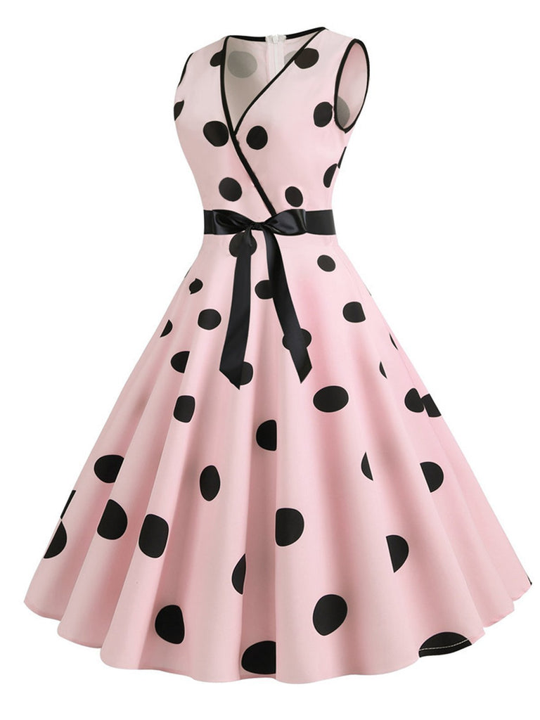 1950s Bow Polka Dot Swing Dress