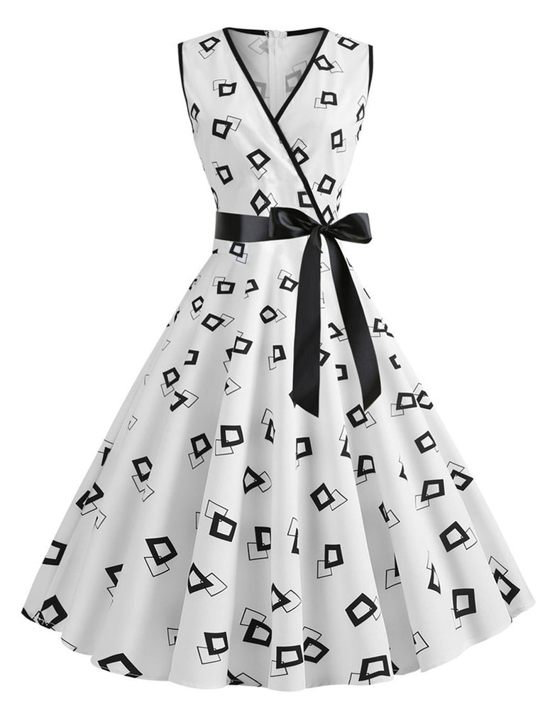 White 1950s Bow Swing Dress