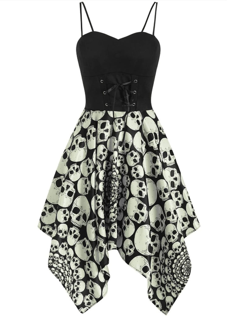 1950s Halloween Skull Lace-up Strap Dress