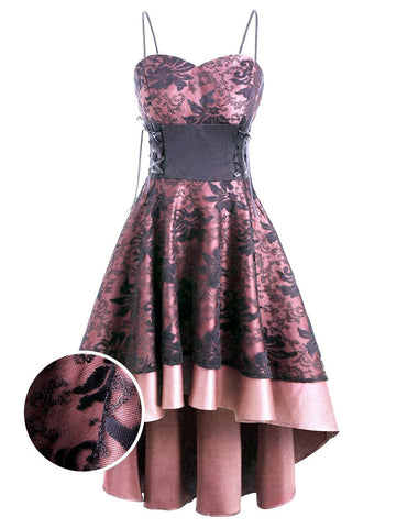 1950s Patchwork High Low Hem Strap Dress