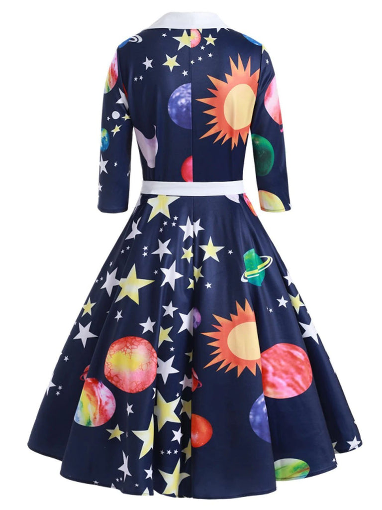 Dark Blue 1950s Moon Star Swing Dress