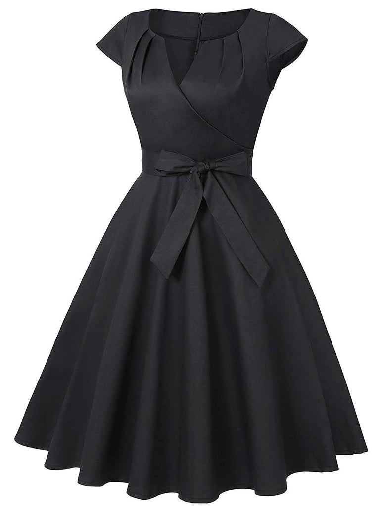 1950s Cap Sleeve Bow Swing Dress