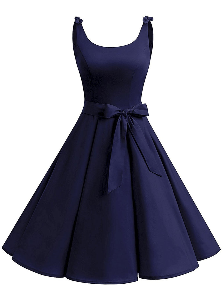 1950s Tie-Strap Bow Swing Dress