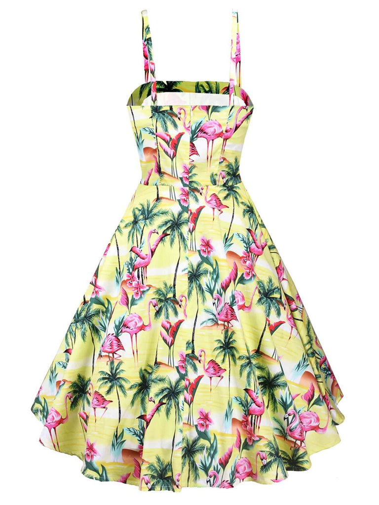 Yellow 1950s Flamingo Swing Dress