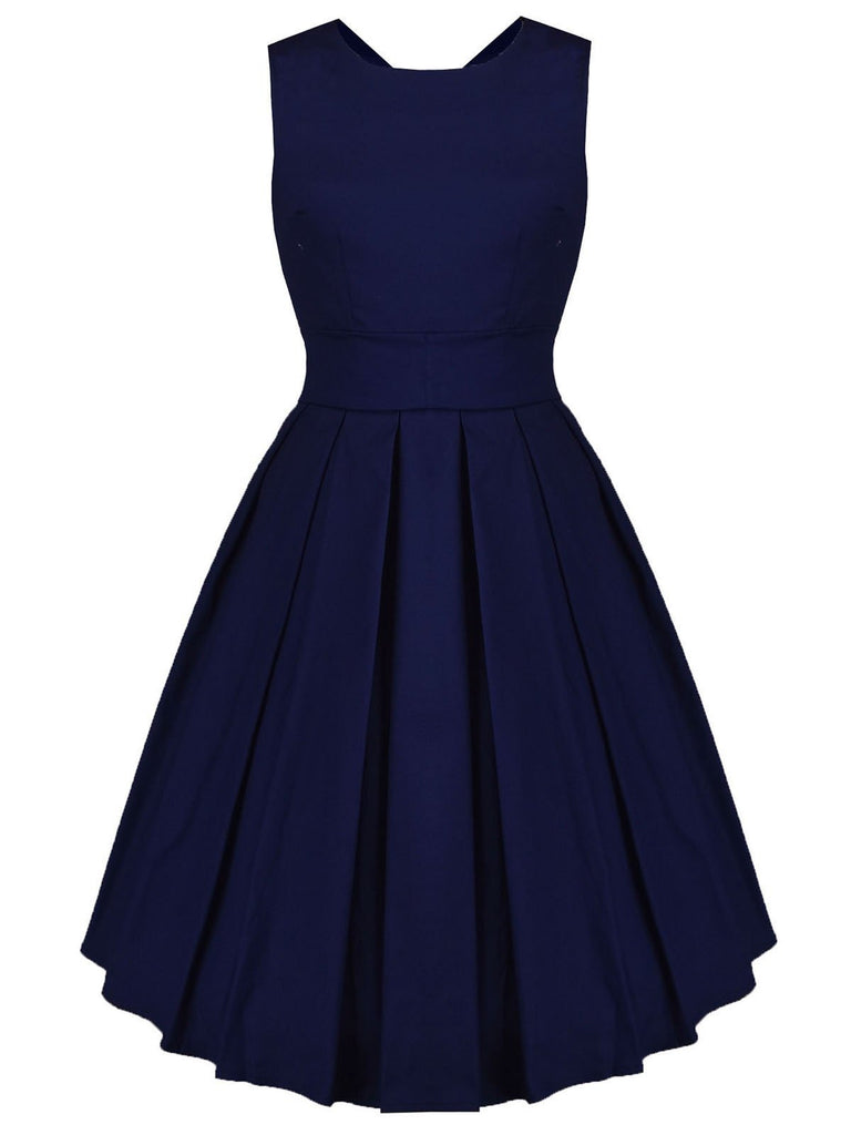Navy Blue 1950s Lace Up Swing Dress