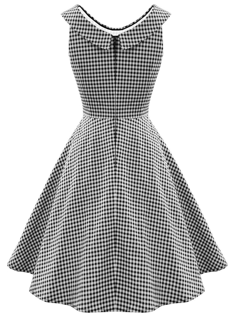 Gray 1950s Plaid Swing Dress
