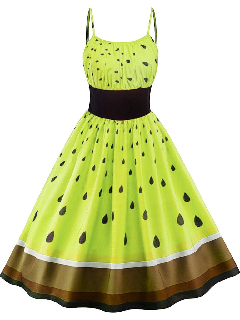 1950s Fruit Spaghetti Swing Dress